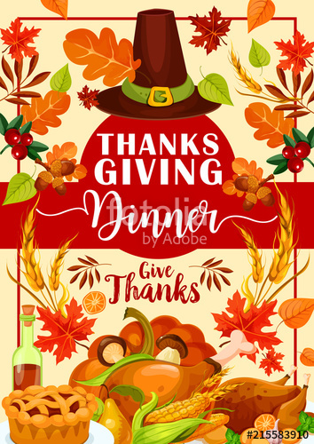 354x500 Thanksgiving Dinner Invitation With Festive Food Stock Image And