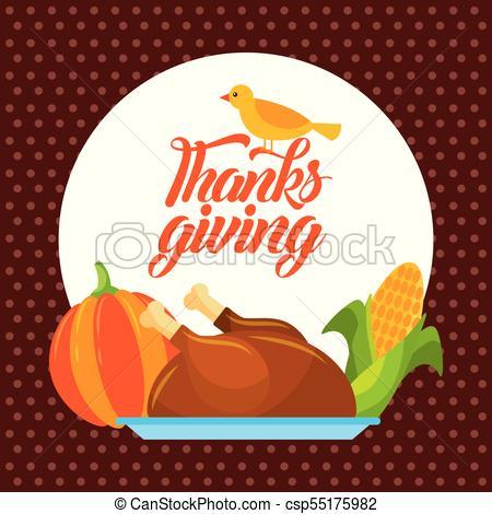 450x470 Thanksgiving Dinner Menu Food Poster Greeting Vector Illustration.