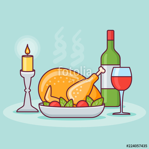 500x500 Thanksgiving Dinner With Roasted Turkey, Bottle And Glass Of Wine