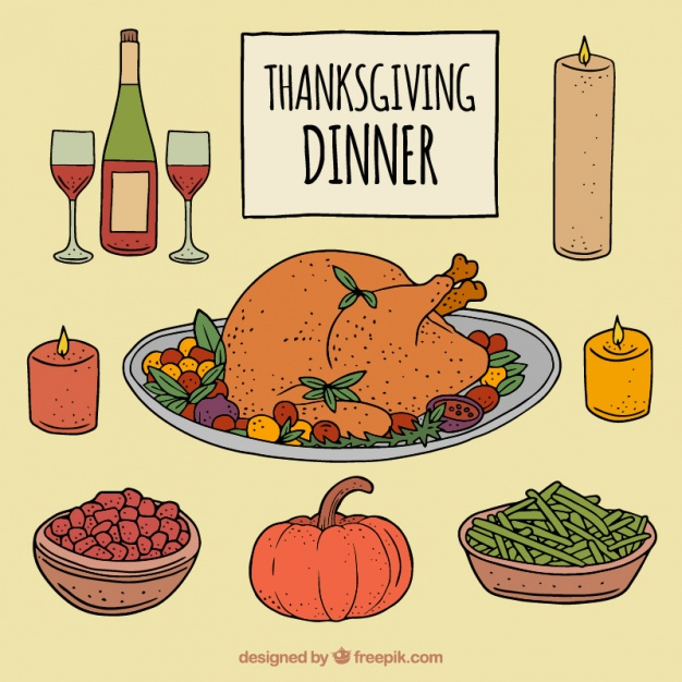 626x626 Thanksgiving Dinner With Traditional Dishes Vector Free Download
