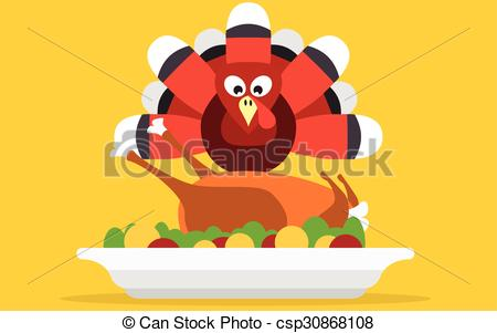 450x301 Thanksgiving Turkey With Dinner Vector Card. Thanksgiving Turkey