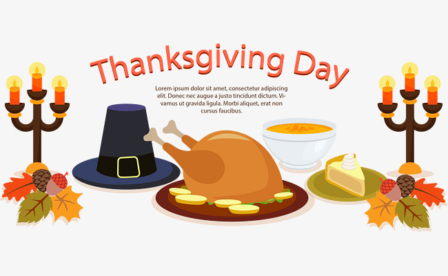 650x400 Vector Hand Painted Thanksgiving Dinner, Vector, Hand Painted
