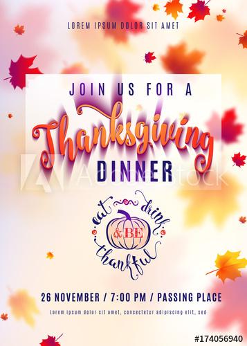 357x500 Vector Illustration Of Vertical Thanksgiving Dinner Invitation