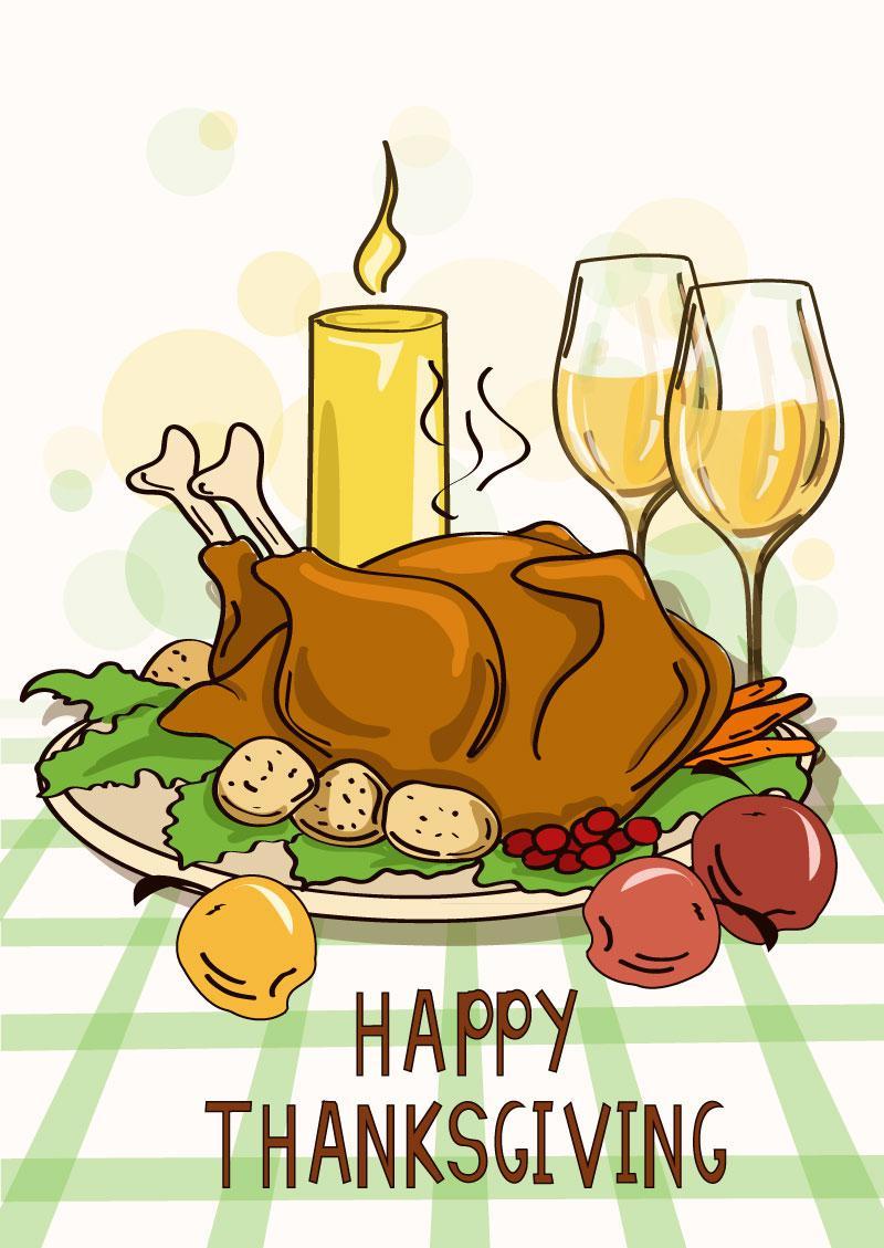 800x1129 Cartoon Thanksgiving Turkey Meal Vector [Eps]
