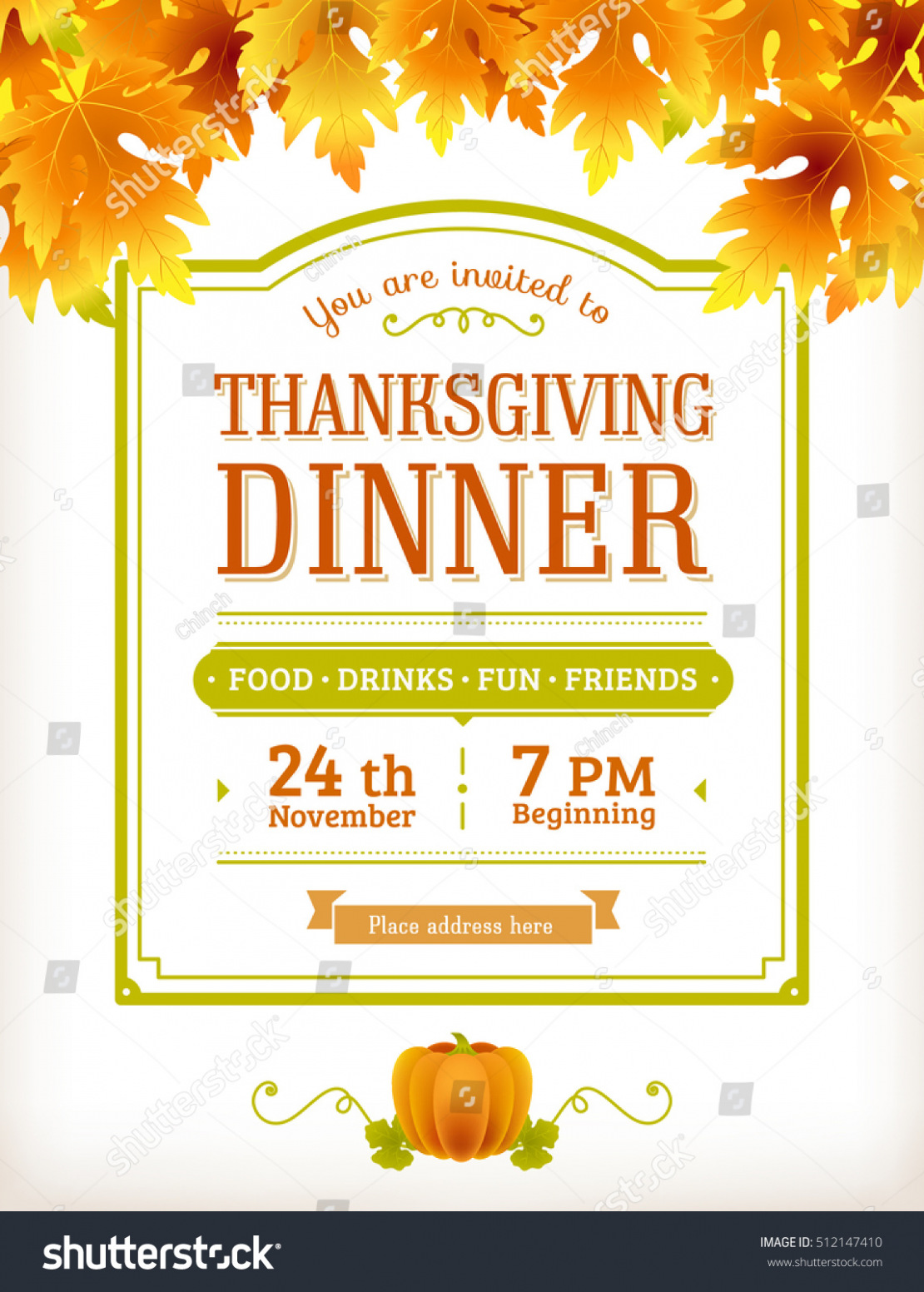 1110x1552 Download Invitation Thanksgiving Dinner Party Vector Template