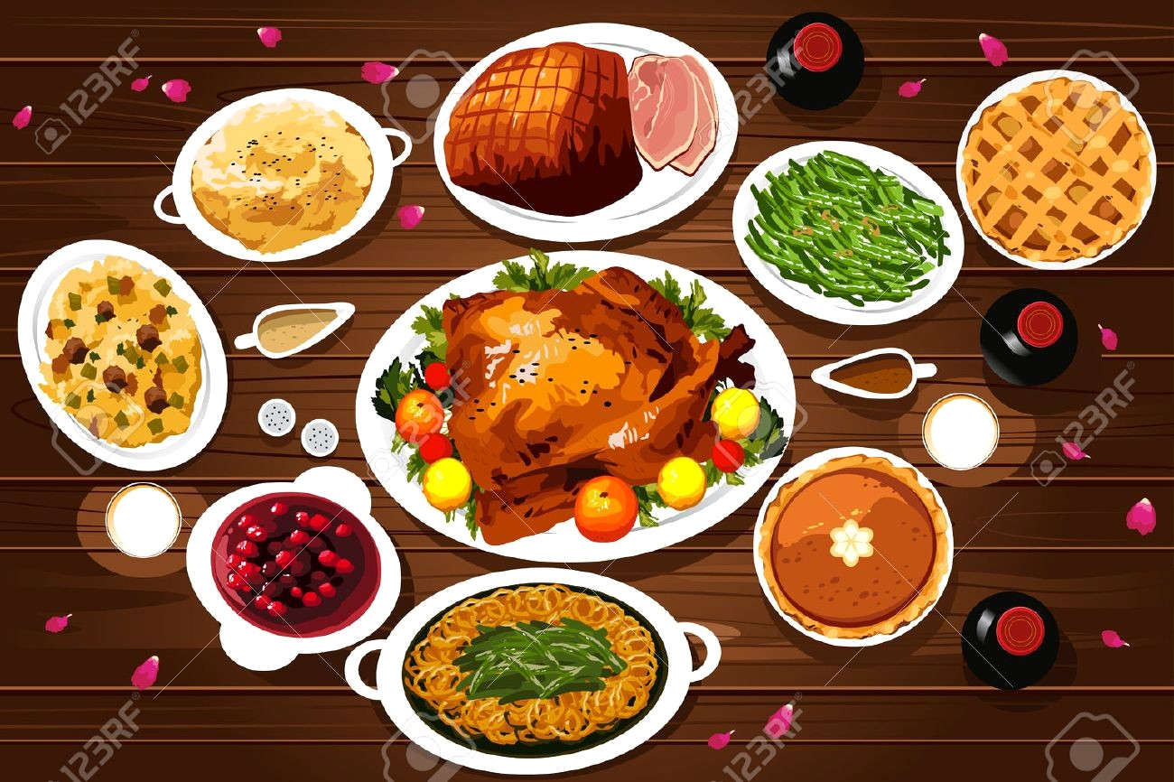 1300x866 Exquisite Thanksgiving Dinner Table Clipart 2 45834227 A Vector