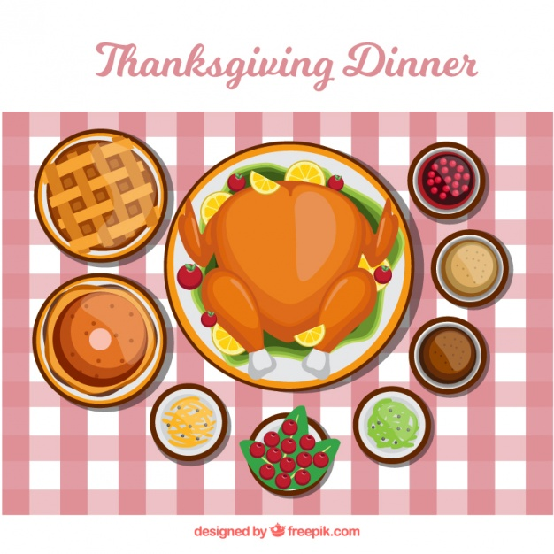 626x626 Flat Background Of Tasty Thanksgiving Dinner Vector Free Download