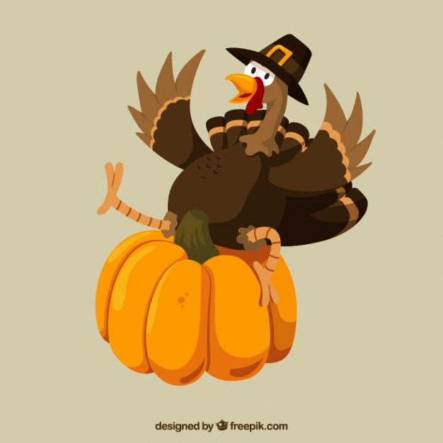 626x626 Funny Thanksgiving Turkey And A Pumpkin Vector Premium Download