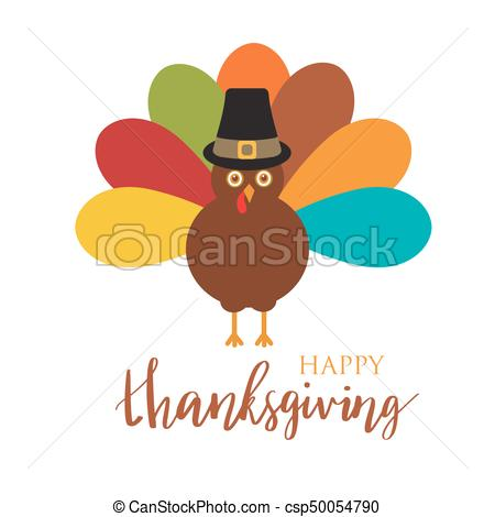 450x470 Happy Thanksgiving With Turkey, Vector Card. Happy Thanksgiving