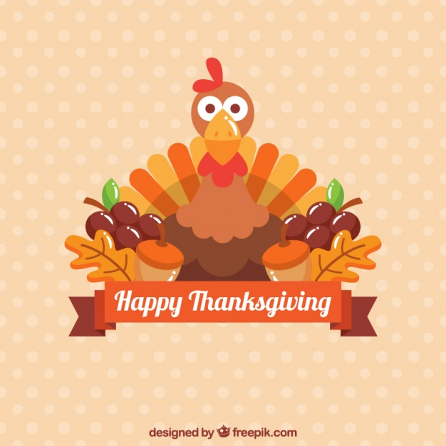 626x626 Background Of Thanksgiving Turkey In Flat Design Vector Free