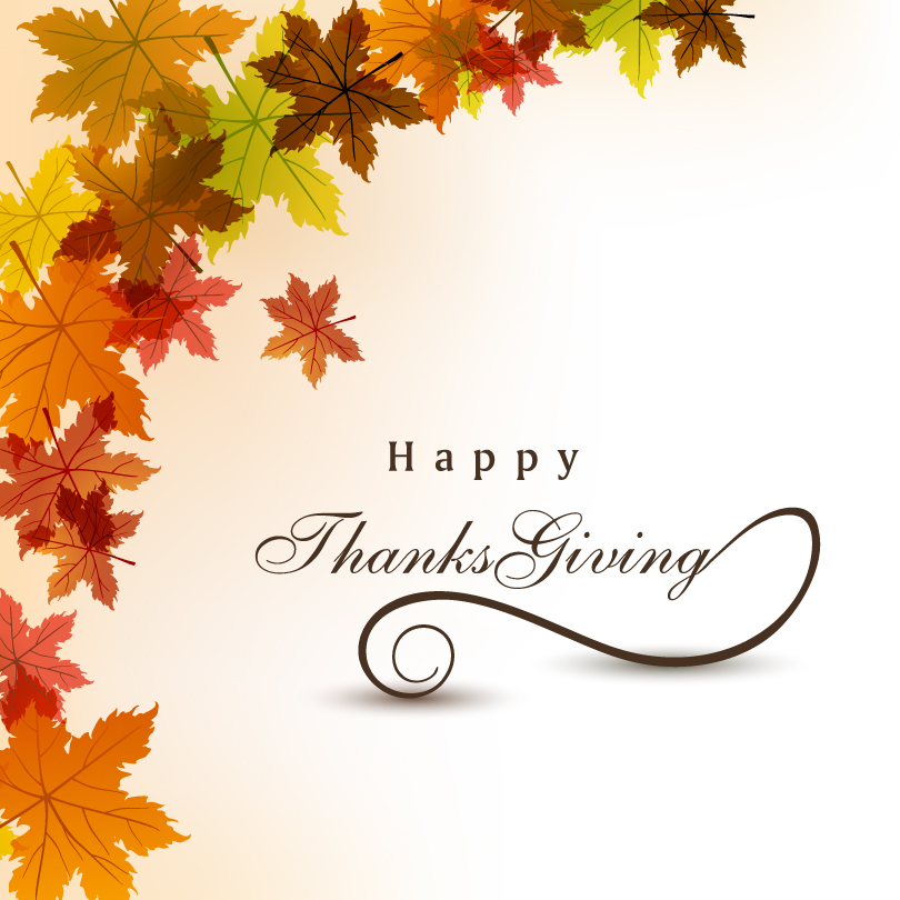 810x810 Happy Thanksgiving Day Leaves Background Vector Free Vector