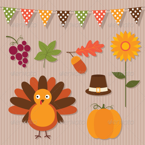 590x590 Thanksgiving Vector Set. By Lattesmile Graphicriver