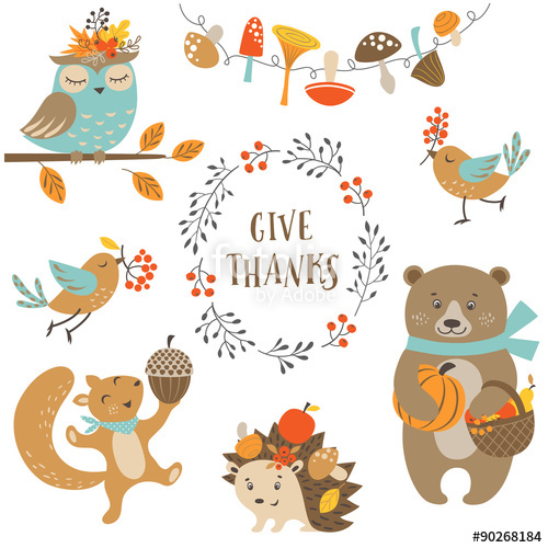 500x500 Set Of Cute Woodland Animals For Autumn And Thanksgiving Design