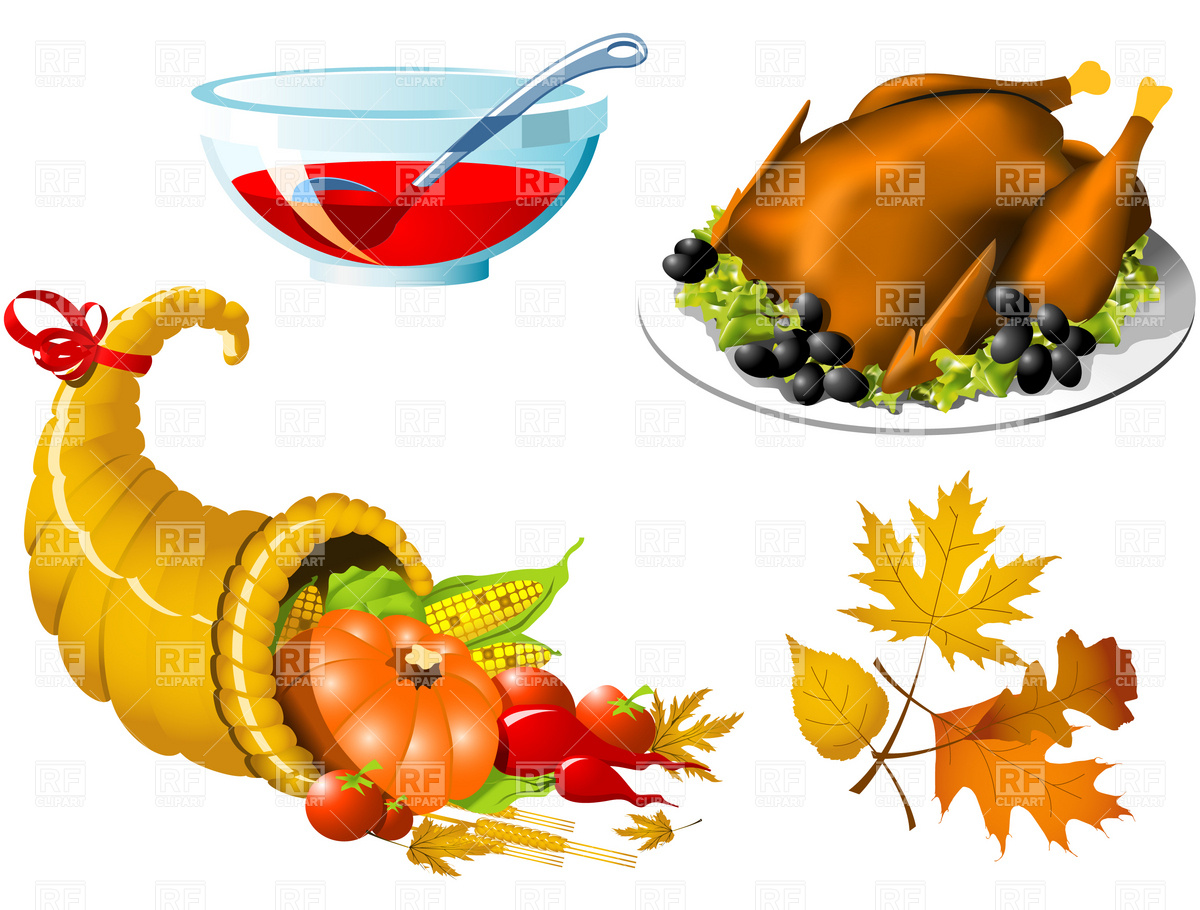 1200x910 Thanksgiving Roasted Turkey And Cornucopia Vector Image Vector