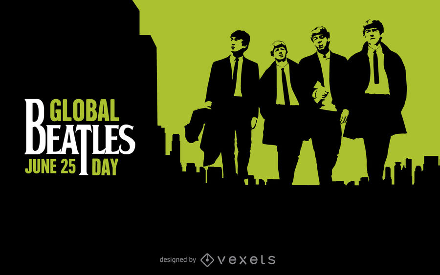 900x563 Global Beatles Day Black And Green Poster