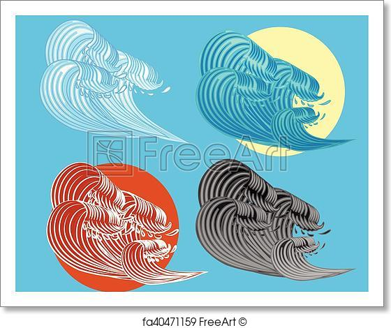 560x470 Free Art Print Of The Great Wave Off Kanagawa Vector. The Great