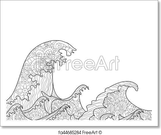 560x470 Free Art Print Of The Great Wave Off Kanagawa Coloring Book For