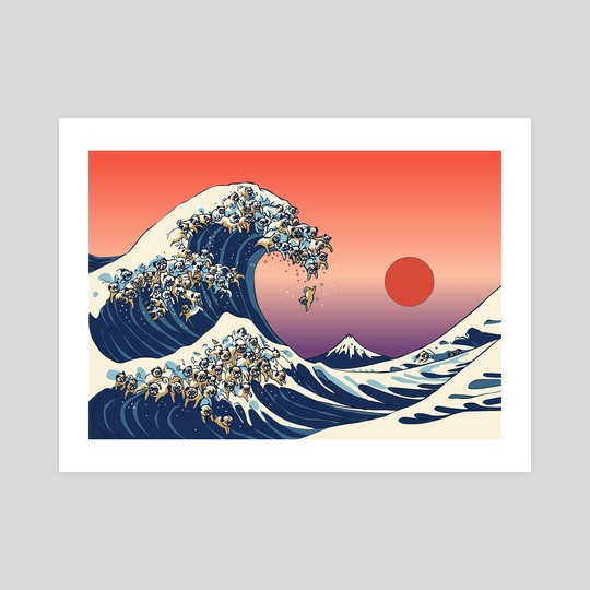 540x540 The Great Wave Of Pug, An Art Print By Huebucket