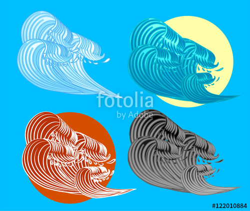 500x423 The Great Wave Off Kanagawa Vector Illustration Stock Image And