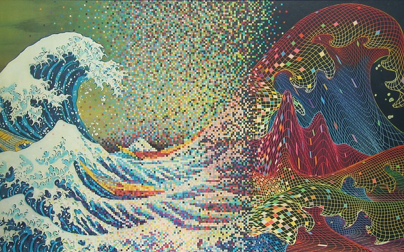 800x500 Waves Vector Rainbows Artwork Pixelated The Great Wave Off