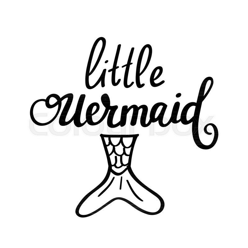 800x800 Little Mermaid Vector Lettering Design. Cartoon Fairy Tale Stock
