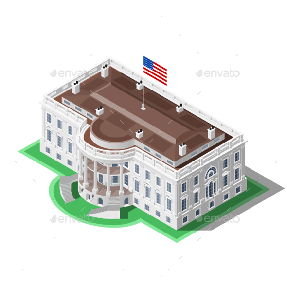 590x590 Election Infographic Us White House Vector Isometric Building By