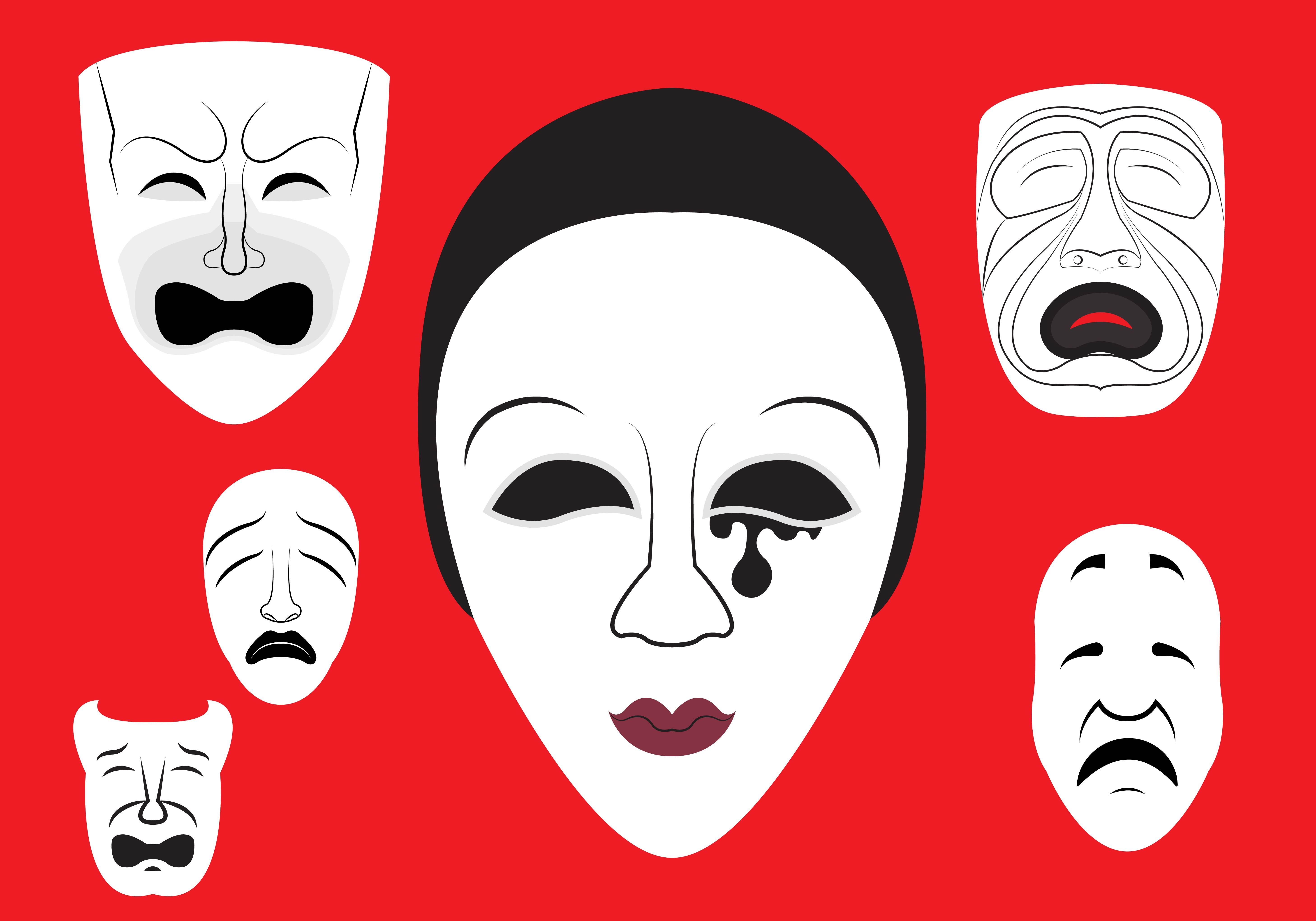 5833x4083 Illustration Of Theatre Masks Vector Free Vector Download In .ai