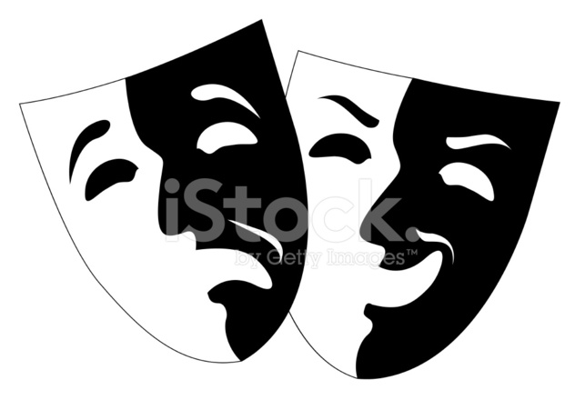 643x440 Theatre Black And White Emotion Masks, Vector Stock Vector
