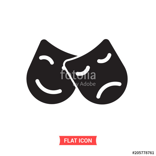 500x500 Theatre Mask Vector Icon, Comedy And Drama Symbol. Flat Sign