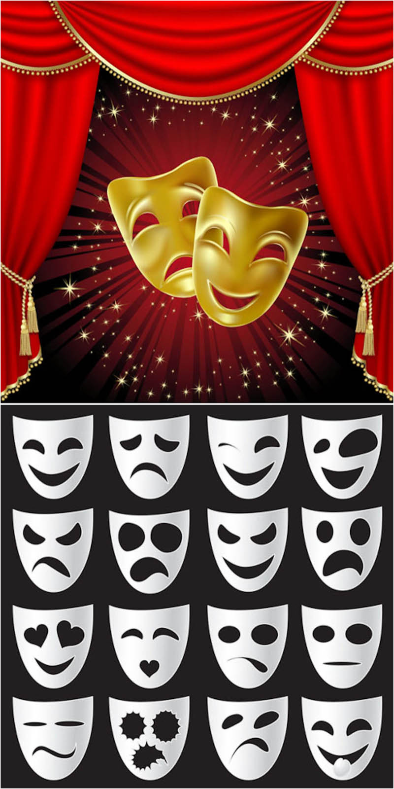 800x1600 Theatrical Masks Vector Vector Graphics Blog