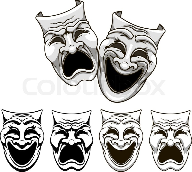800x715 Tragedy And Comedy Theater Masks Stock Vector Colourbox