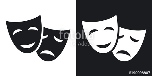 500x250 Vector Theatrical Masks Icon. Two Tone Version On Black And White
