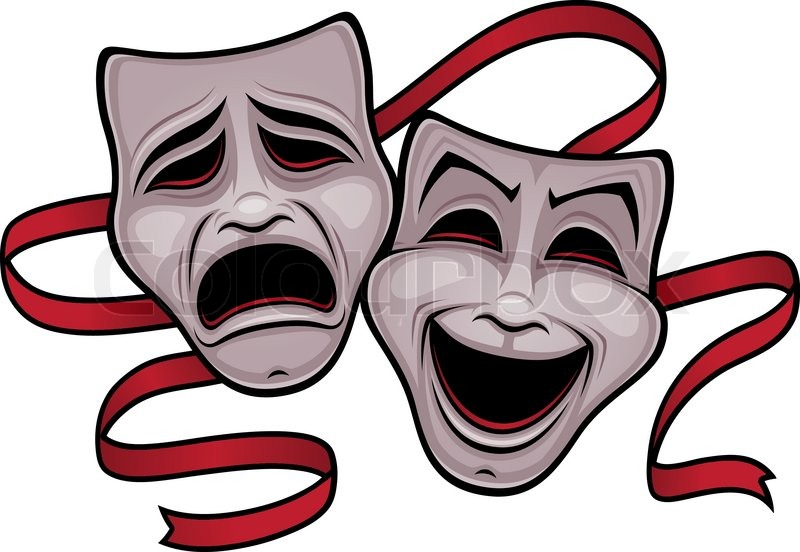 800x552 Comedy And Tragedy Theater Masks Stock Vector Colourbox