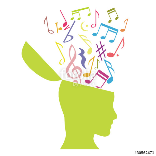 500x500 Music Therapy, Musical Notes In The Head Stock Image And Royalty