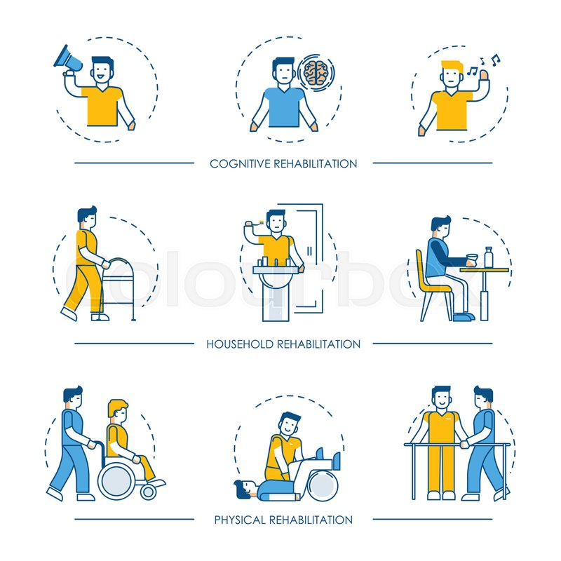 800x800 Rehabilitation Icons For Cognitive, Physical And Household