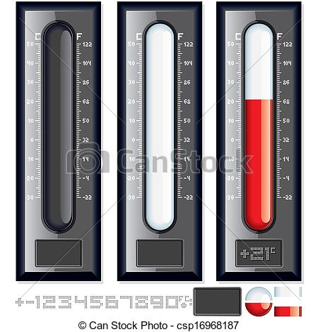 450x470 Thermometer Vector Kit. Customizable Illustration.