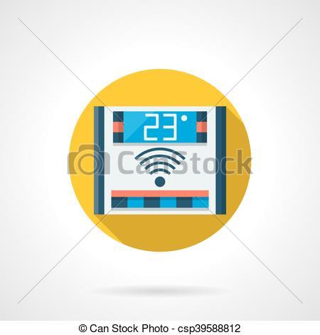 450x470 Electronic Temperature Control Round Vector Icon. Domestic