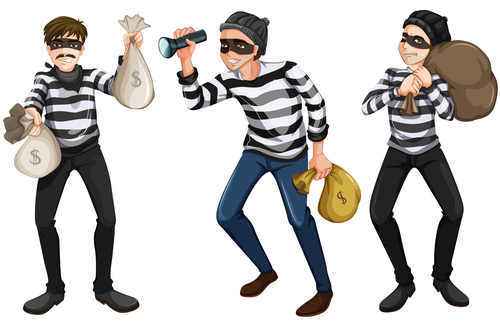 500x325 3 Cartoon Thief Vector Free Download