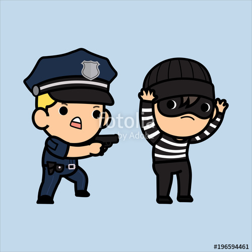 500x500 Police Officer, Policeman Or Cop Chasing A Thief , Vector