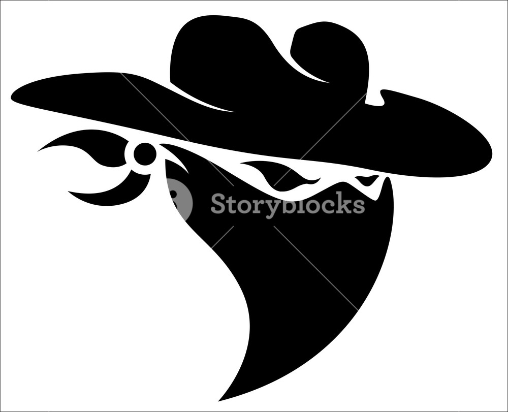 1000x811 Thief Cowboy Mascot Tattoo Vector Illustration Royalty Free Stock