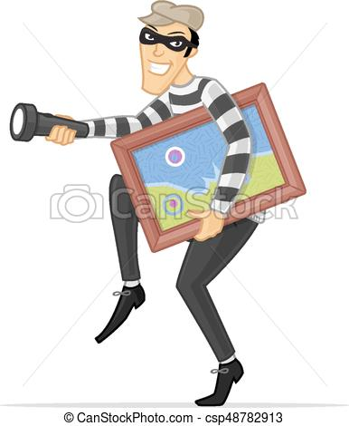 386x470 Art Thief. Thief Stealing Art Picture Vector Cartoon Illustration.