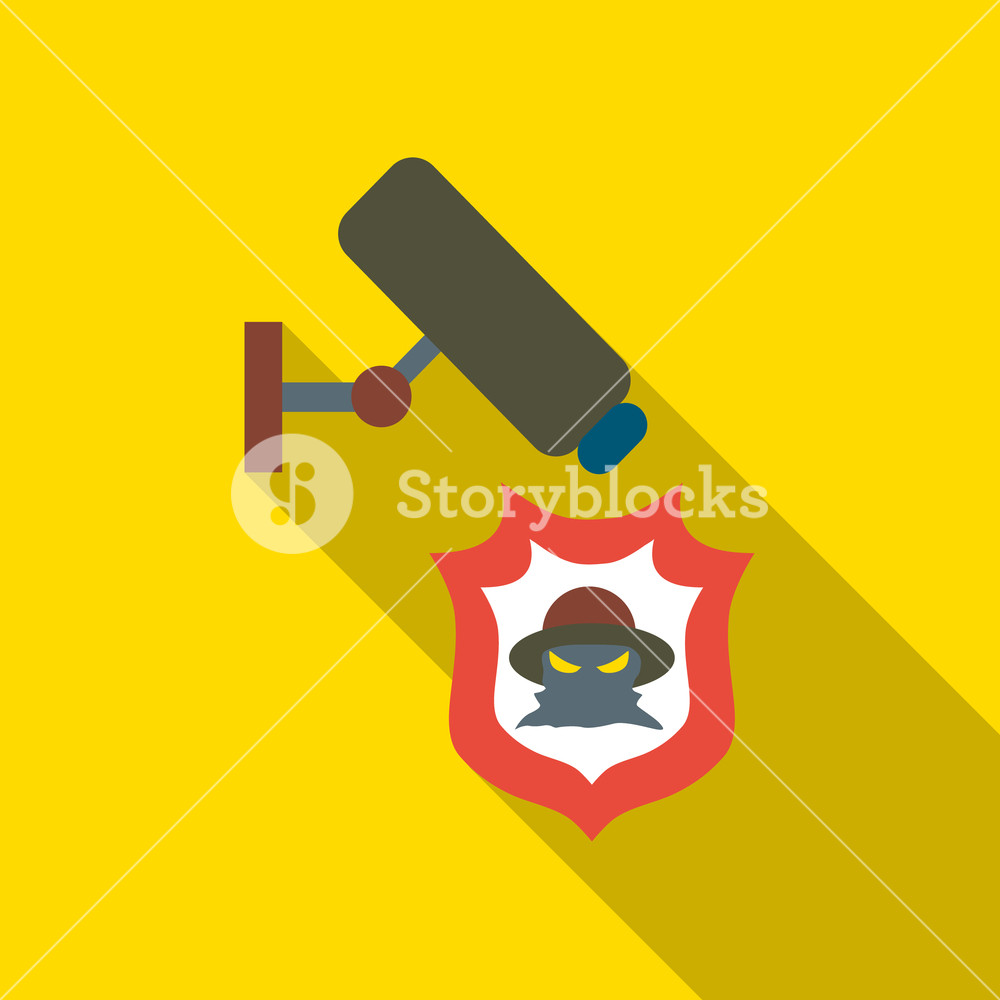 1000x1000 Camera Protection From Thief Icon. Flat Illustration Of Camera