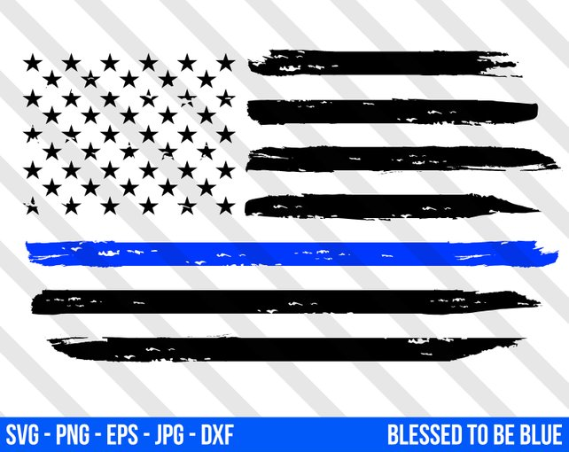 642x510 Thin Blue Line American Flag Svg Vector Png Eps Jpg Dxf Blue Etsy