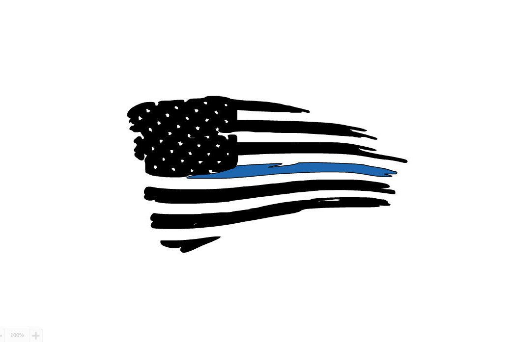 1044x697 Thin Blue Line Tattered Flag Decal Thin Blue Line Decal, Thin