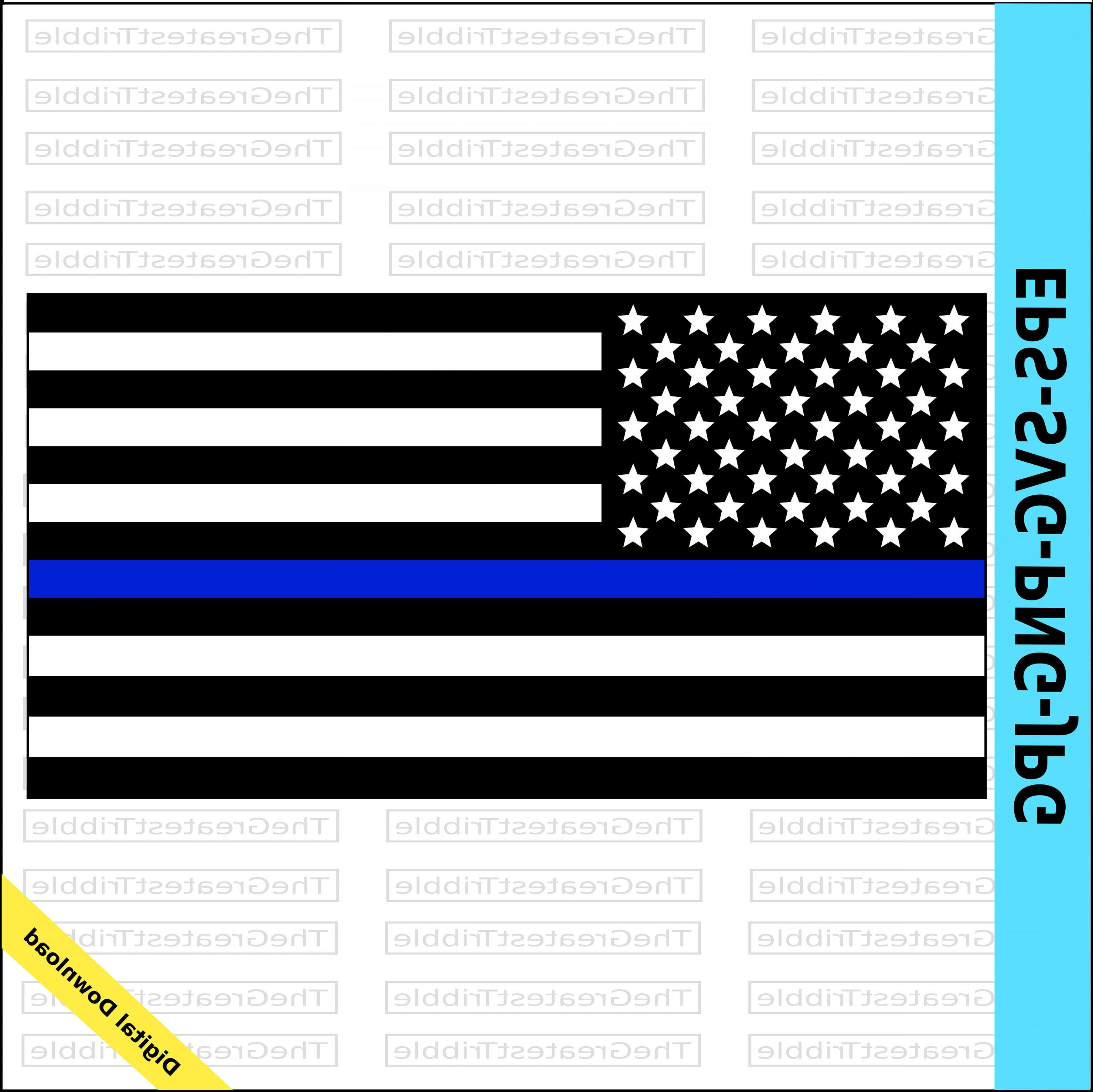 3600x3596 Thin Blue Line United States Flag Eps Orangiausa
