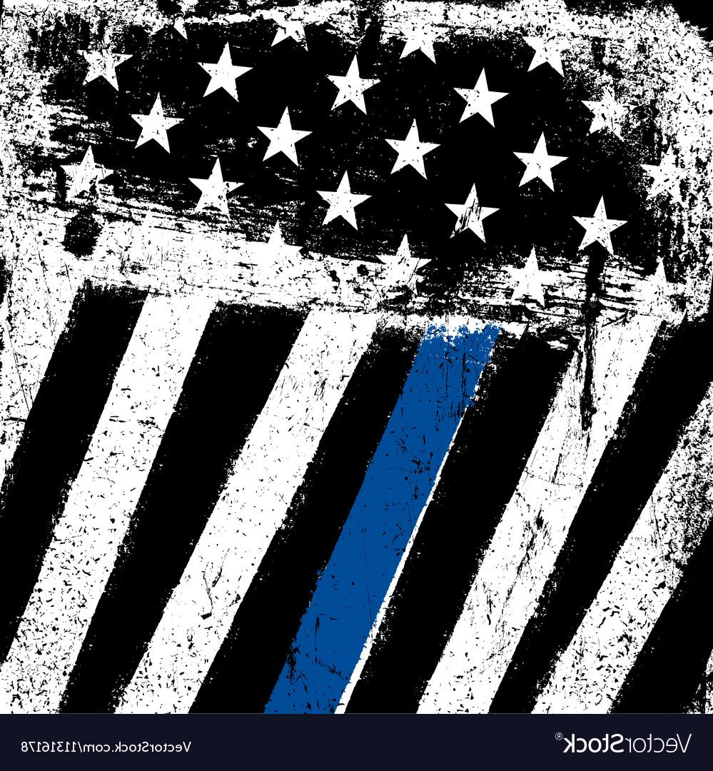 999x1080 Unique American Flag With Thin Blue Line Grunge Patriotic Vector Image