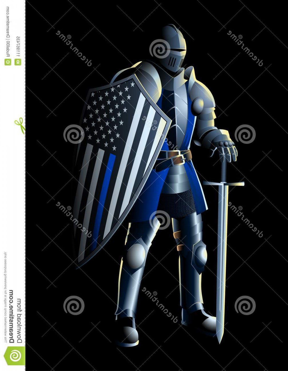 1210x1560 Vector Illustration Knight Thin Blue Line Usa Flag Thin Blue Line