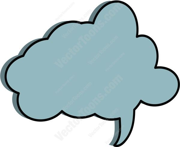 600x491 Blue Puffy Thought Cloud Talk Bubble Tail On Right Side Clipart