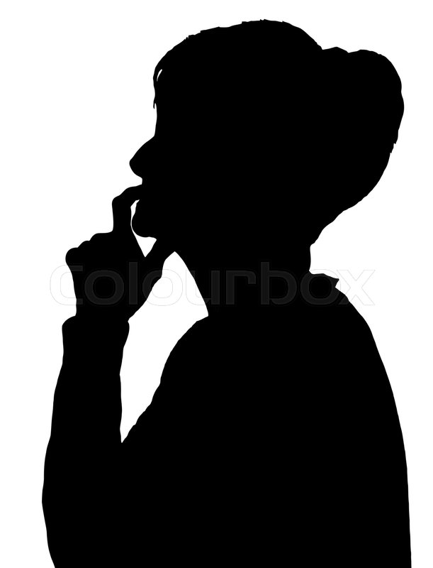 611x800 Front Profile Portrait Silhouette Of Elderly Lady Finger On Her