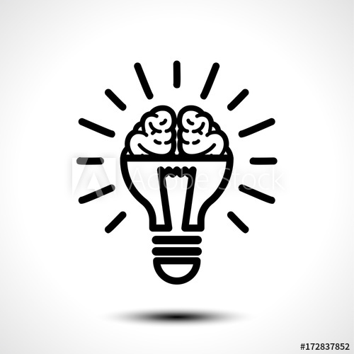 500x500 Logo With A Half Of Light Bulb And Brain Isolated On White